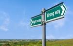 Right way and Wrong way direction sign.