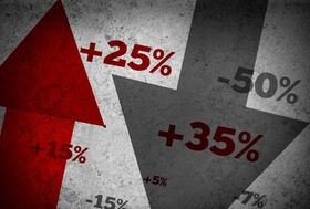 Red and dark grey market statistics and percentages on grey wall
