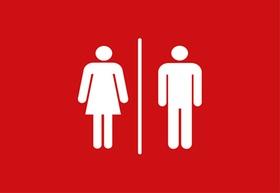 rotes Icon Toiletten