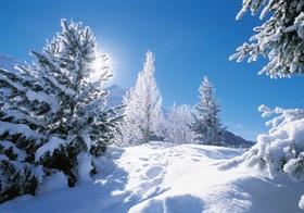 Schneebedeckter Berg bei Sonnenschein