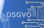 Schriftzug DSGVO auf Binärcode und Vernetzungssymbolen