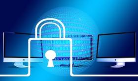 Sicherheitsschloss mit Binärcode und Bildschirmen