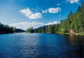 See, Waldufer mit Huette, Saimaa, Finnland
