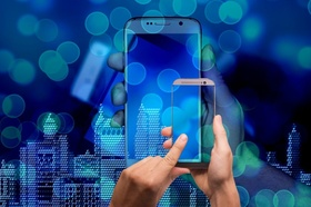 Smart Home Hochhäuser Hand Smartphone digital