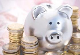 Sparschwein mit Euro-Münzen