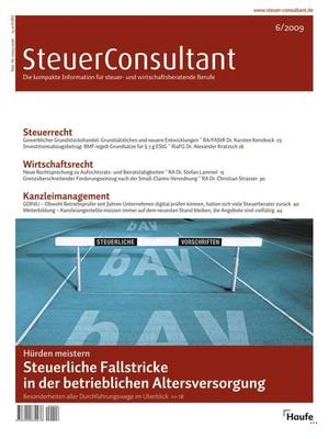SteuerConsultant Ausgabe 6/2009   SteuerConsultant