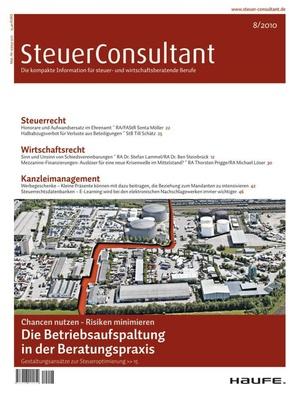 SteuerConsultant Ausgabe 8/2010 | SteuerConsultant