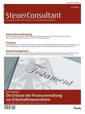SteuerConsultant Ausgabe 11/2009 | SteuerConsultant