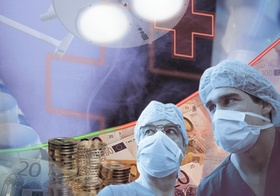 Symbolbild Kostenexplosion im Gesundheitswesen, Chirurgen, Euros, Montage
