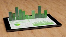 Tablet Diagramm grün Nachhaltigkeit Investment