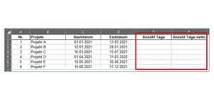 Excel-Formel TAGE und NETTOARBEITSTAGE für Projekte nutzen