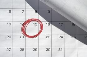 Termin auf Kalender ist rot umkringelt