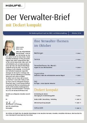 Der Verwalterbrief 10/2014 | Verwalter-Brief