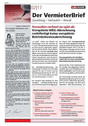 Der Vermieterbrief mit den Vermieterthemen Februar 2017 | VermieterBrief