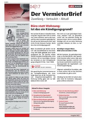 Der Vermieterbrief mit den Vermieterthemen April 2017 | VermieterBrief