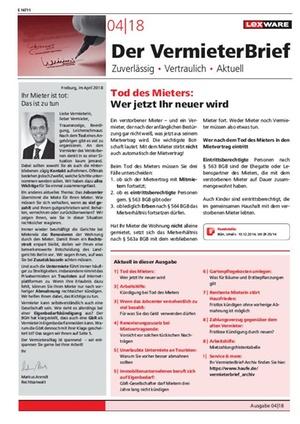 Der Vermieterbrief mit den Vermieterthemen April 2018 | VermieterBrief