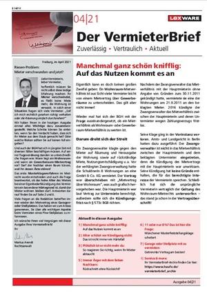 Der Vermieterbrief mit den Vermieterthemen April 2021 | VermieterBrief