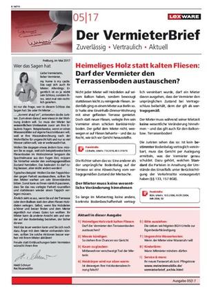 Der Vermieterbrief mit den Vermieterthemen Mai 2017 | VermieterBrief