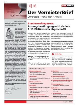 Der Vermieterbrief mit den Vermieterthemen Oktober 2016 | VermieterBrief