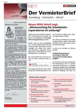 Der Vermieterbrief mit den Vermieterthemen Oktober 2017 | VermieterBrief