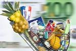 Voller Einkaufswagen, Euroschein im Hgr., Bewegung