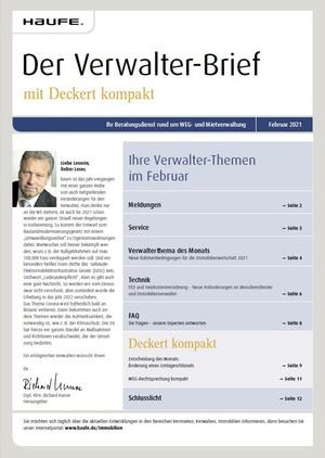 Der Verwalterbrief mit den Verwalterthemen im Februar 2021 | Verwalter-Brief