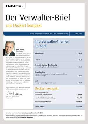 Der Verwalter-Brief Ausgabe 4/2012   Verwalter-Brief