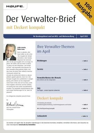 Der Verwalterbrief mit den Verwalterthemen im April 2020 | Verwalter-Brief