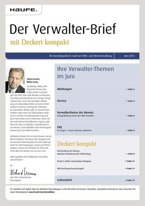 Der Verwalter-Brief Ausgabe 06/2013   Verwalter-Brief