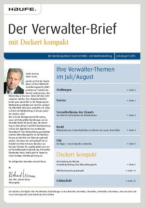 Der Verwalterbrief 7+8/2015 | Verwalter-Brief