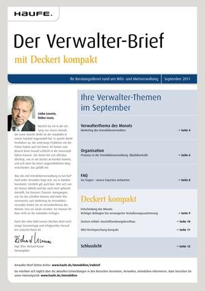 Der Verwalterbrief Ausgabe 9/2011 | Verwalter-Brief