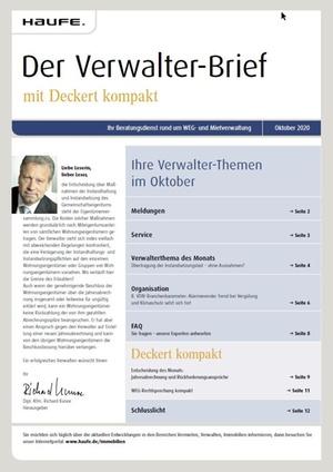 Der Verwalterbrief mit den Verwalterthemen im Oktober 2020 | Verwalter-Brief