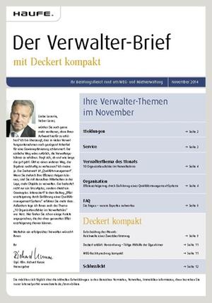 Der Verwalterbrief 11/2014 | Verwalter-Brief