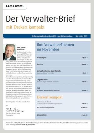 Der Verwalterbrief mit den Verwalterthemen im November 2019 | Verwalter-Brief