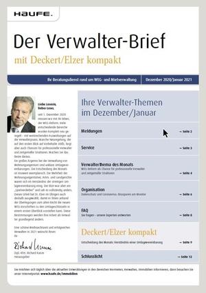 Der Verwalterbrief mit den Verwalterthemen im Dezember 2020 | Verwalter-Brief