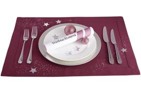 Weihnachtsgedeck, Besteck, Stoffset, Menuerolle, Dekokugeln