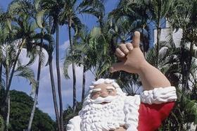 Weihnachtsmannatrappe unter Palmen