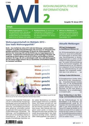 Wohnungspolitische Informationen Ausgabe 02/2013 | Wohnungspolitische Information