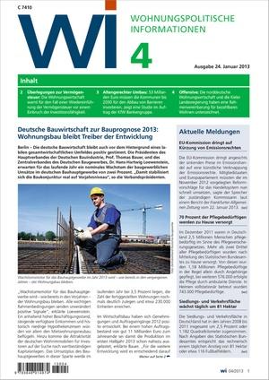 Wohnungspolitische Informationen Ausgabe 04/2013 | Wohnungspolitische Information