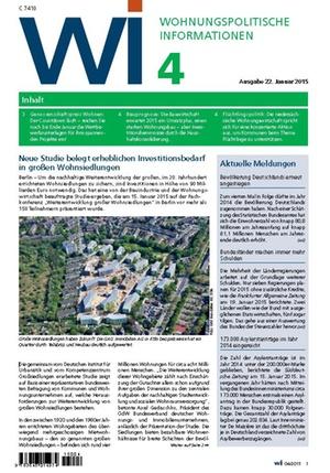 Wohnungspolitische Informationen 04/2015 | Wohnungspolitische Information