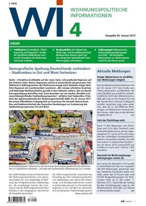 Wohnungspolitische Informationen 4/2017 gdw | Wohnungspolitische Information