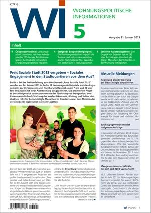 Wohnungspolitische Informationen Ausgabe 05/2013   Wohnungspolitische Information