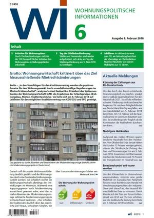 Wohnungspolitische Informationen 6/2018 gdw   Wohnungspolitische Information