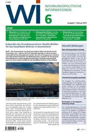 Wohnungspolitische Informationen 6/2019 gdw | Wohnungspolitische Information