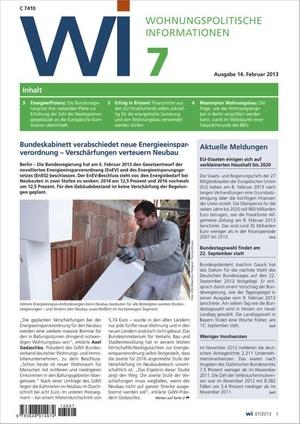 Wohnungspolitische Informationen Ausgabe 7/2013 | Wohnungspolitische Information