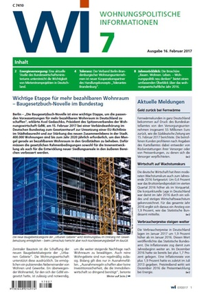 Wohnungspolitische Informationen 7/2017 gdw   Wohnungspolitische Information