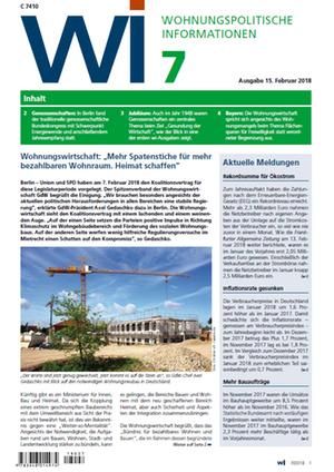 Wohnungspolitische Informationen 7/2018 gdw | Wohnungspolitische Information