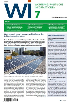 Wohnungspolitische Informationen 7/2019 gdw | Wohnungspolitische Information