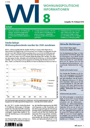 Wohnungspolitische Informationen 08/2015 | Wohnungspolitische Information