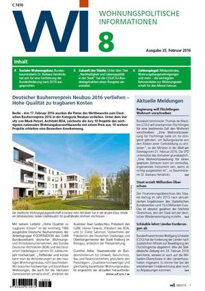 Wohnungspolitische Informationen 08/2016 | Wohnungspolitische Information